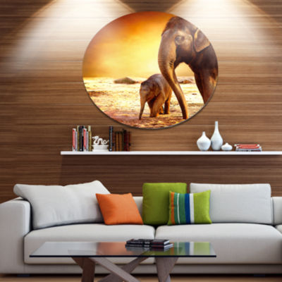 Design Art Elephant Mother and Baby Outdoors African Metal Circle Wall Art