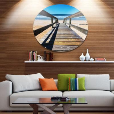 Design Art Long Boardwalk into Blue Seashore Seashore Metal Circle Wall Art