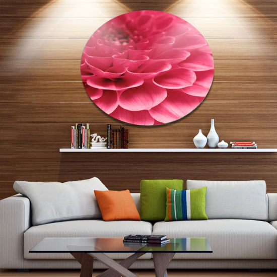 Design Art Soft Rose Abstract Flower Petals Disc Floral Circle Metal Wall Decor