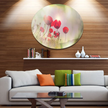 Design Art Wild Red Poppy Flowers Disc Floral Circle Metal Wall Decor