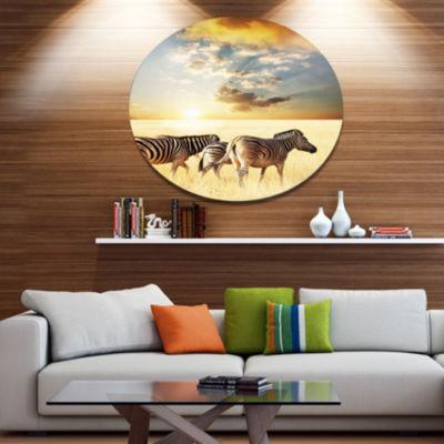Design Art Zebras Walking in African Grassland African Metal Circle Wall Art Print