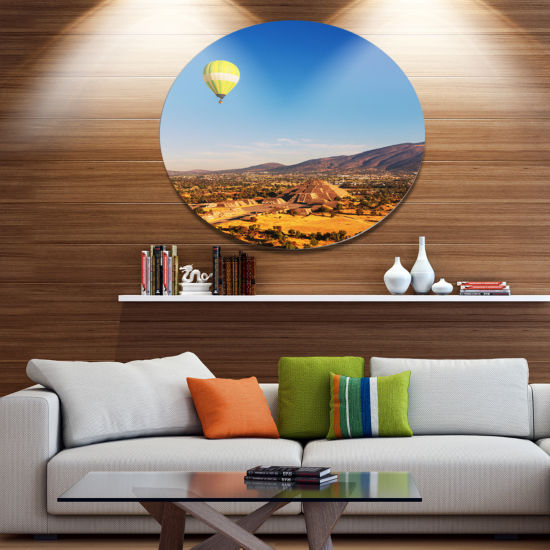 Design Art Large Yellow Balloon over Mountains Oversized Landscape Metal Circle Wall Art