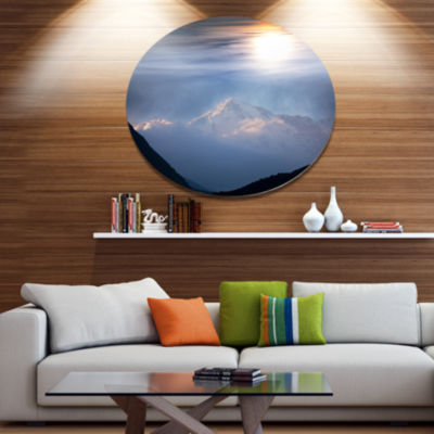 Design Art Peak of Winter Mountains At Sunset DiscLandscape Wall Art on Metal Wall