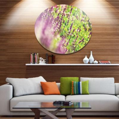 Design Art Beautiful Mint Flowers in Garden FloralOversized Circle Metal Artwork