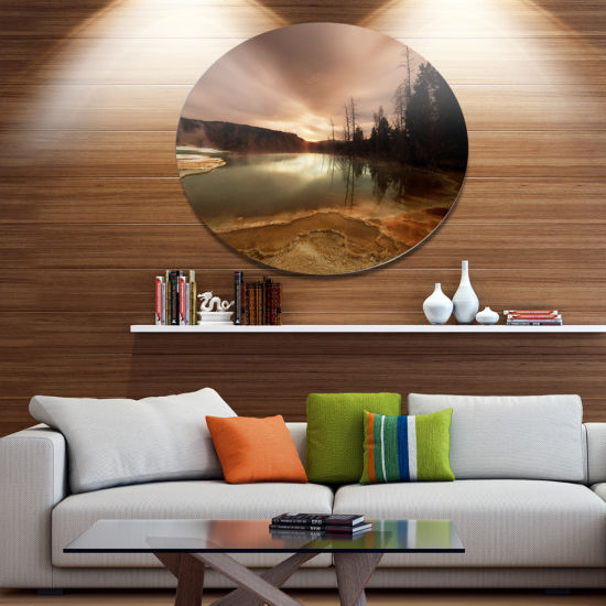 Design Art Mountain Lake under Cloudy Sky AfricanLandscape Metal Circle Wall Art