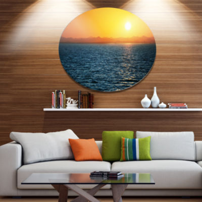 Design Art Beautiful River View At Sunset Large Seashore Oversized Circle Metal Artwork