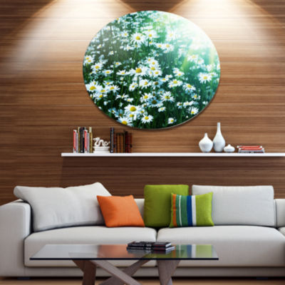 Design Art Sunny Garden with Cute White Flowers Floral Metal Circle Wall Art