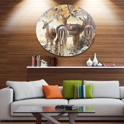 Design Art Beautiful Herd of Antelope Gnu Extra Large African Metal Circle Wall Art