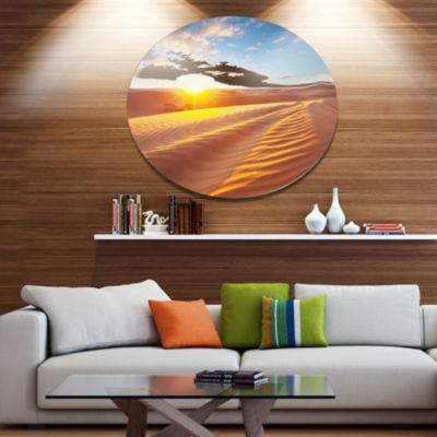 Design Art Desert Dunes Reflecting Sunset Oversized Landscape Metal Circle Wall Art