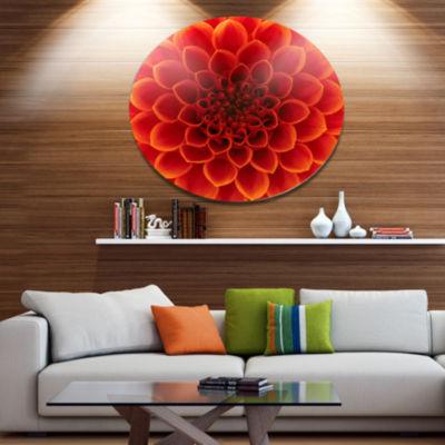 Design Art Close Up Orange Flower Petals Disc Floral Circle Metal Wall Decor
