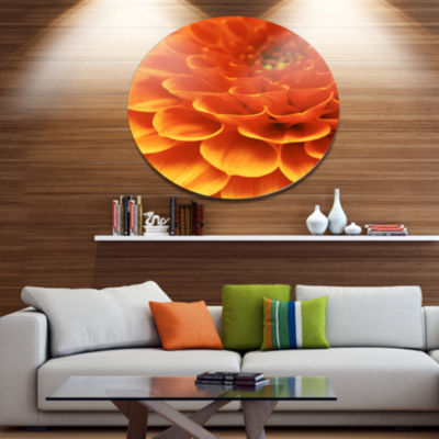 Design Art Dark Abstract Yellow Flower Petals DiscFloral Circle Metal Wall Decor