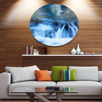 Design Art Beautiful Small Blue Waterfalls Disc Landscape Wall Art on Metal Wall