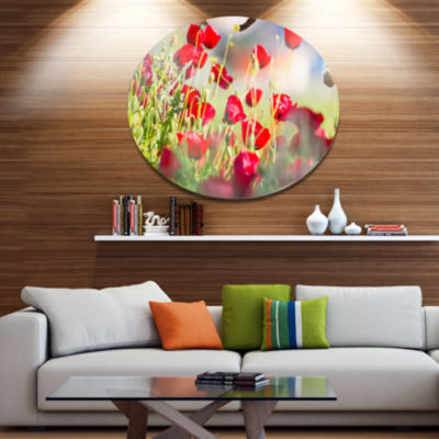 Design Art Beautiful Red Poppy Flowers View Disc Floral Circle Metal Wall Decor