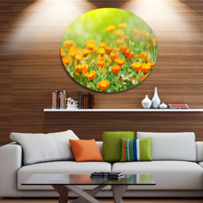 Design Art Yellow Marigold Flowers Disc Floral Circle Metal Wall Decor
