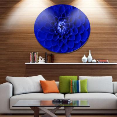 Design Art Abstract Blue Flower Design Disc FloralCircle Metal Wall Decor