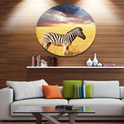 Design Art Solitary Zebra in African Grassland Extra Large African Oversized Circle Metal Artwork