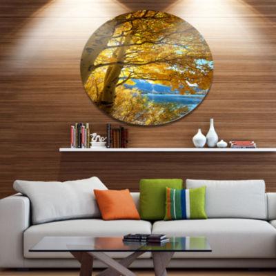 Design Art Bright Yellow Autumn Tree Oversized Landscape Metal Circle Wall Art
