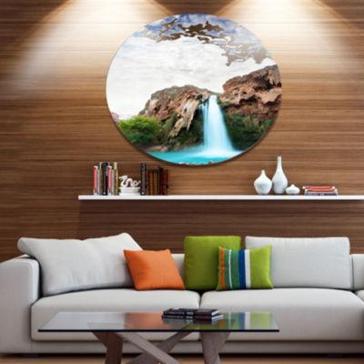 Design Art Amazing Waterfall under Cloudy Sky Oversized Landscape Metal Circle Wall Art