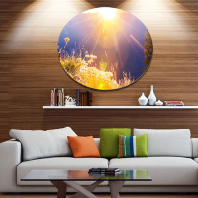 Design Art Rural Meadow Flowers At Sunset Landscape Oversized Circle Metal Artwork