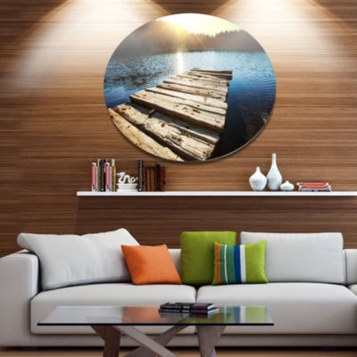 Design Art Large Wooden Pier into the Lake Seashore Metal Circle Wall Art