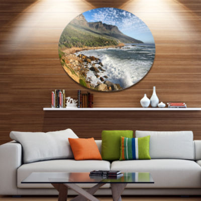 Design Art Beautiful South African Seashore LargeSeashore Metal Circle Wall Art