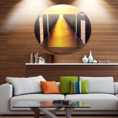 Design Art Sea Bridge with Sunset Reflection Seashore Metal Circle Wall Art
