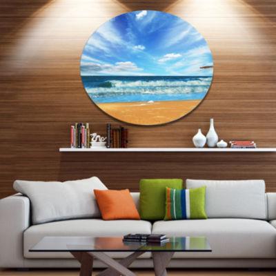 Design Art Bright Blue Waters and Sky in Beach Large Seashore Metal Circle Wall Art