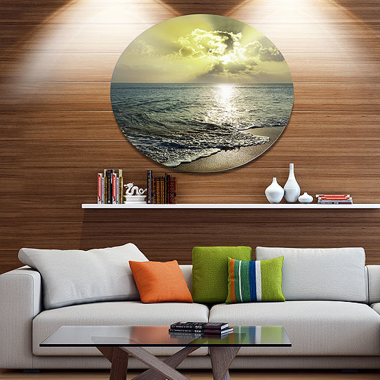 Design Art Tranquil Waves under Beautiful Clouds Disc Large Seashore Circle Metal Wall Decor