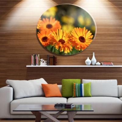 Design Art Blooming Orange Marigold Flowers Disc Floral Circle Metal Wall Decor