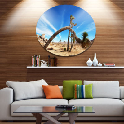 Design Art Curved Joshua Tree in Desert Disc Landscape Wall Art on Metal Wall