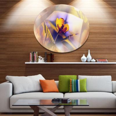 Design Art Yellow Flower on Blue Background FloralOversized Circle Metal Artwork