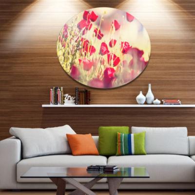 Design Art Poppy Flowers on Light Background Floral Oversized Circle Metal Artwork