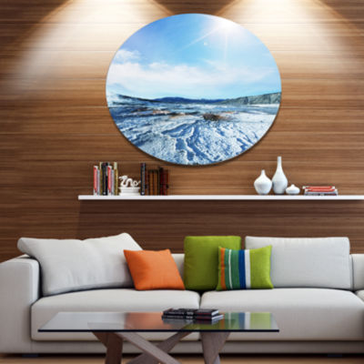 Design Art Hot Spring with Bright Sky and Sun Oversized Landscape Oversized Circle Metal Artwork