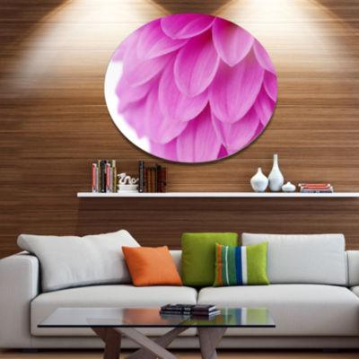 Design Art Soft Purple Abstract Flower Petals DiscFloral Circle Metal Wall Decor