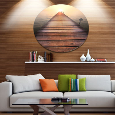Design Art Long Wooden Boardwalk into Sea SeashoreMetal Circle Wall Art