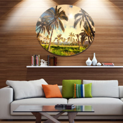 Design Art Beautiful Palm Plantation in Hawaii African Landscape Metal Circle Wall Art