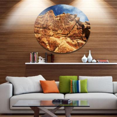 Design Art Rocky Terrain under Blue Sky Disc African Landscape Circle Metal Wall Decor