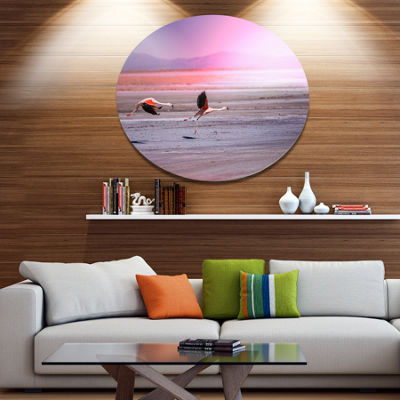 Design Art Flying Pair of Cute Flamingos Animal Metal Circle Wall Art