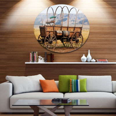 Design Art Old American Cart in Grassland Oversized Landscape Metal Circle Wall Art