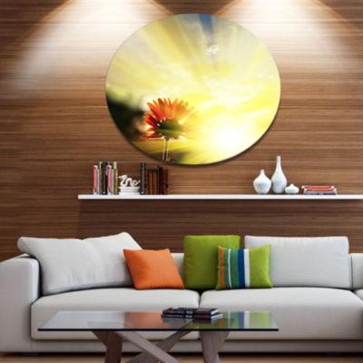 Design Art Flower Against Bright Yellow Sunset Floral Oversized Circle Metal Artwork
