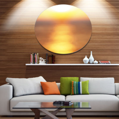 Design Art Abstract Yellow Sunset Reflection DiscLandscape Wall Art on Metal Wall