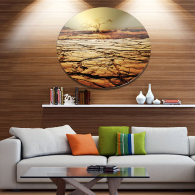 Design Art Lonely Tree in Drought Land African Landscape Metal Circle Wall Art