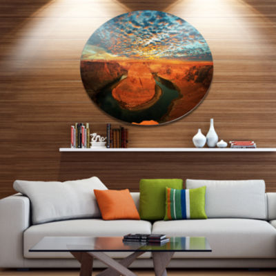 Design Art Horse Shoe Bend under Stormy Sky Oversized Landscape Metal Circle Wall Art