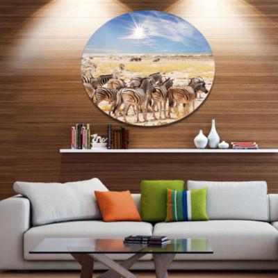 Design Art Beautiful Herd of Zebra on Bright Day African Metal Circle Wall Art Print