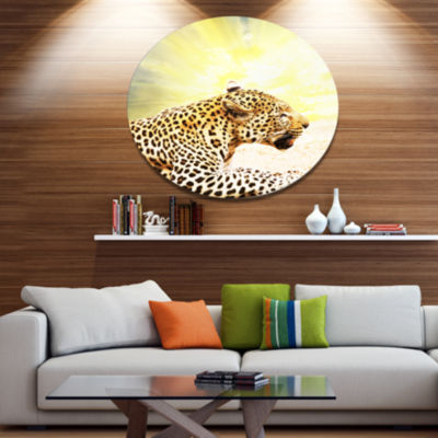 Design Art Ferocious Leopard At Sunrise Animal Metal Circle Wall Art