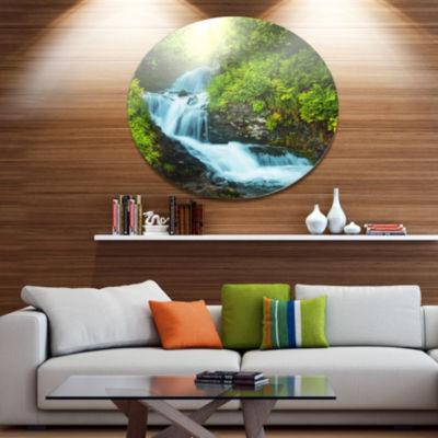Design Art Wonderful Creek in Green Forest Oversized Landscape Metal Circle Wall Art