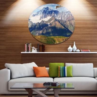 Design Art Beautiful Caucasus Mountains LandscapeOversized Circle Metal Artwork