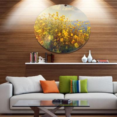 Design Art Wild Yellow Flowers Meadow Disc FloralCircle Metal Wall Decor