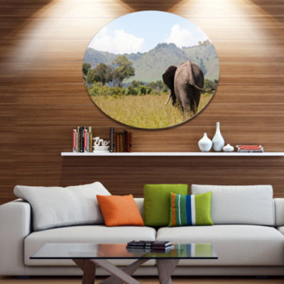 Design Art Retreating Elephant in Savannah Extra Large African Metal Circle Wall Art