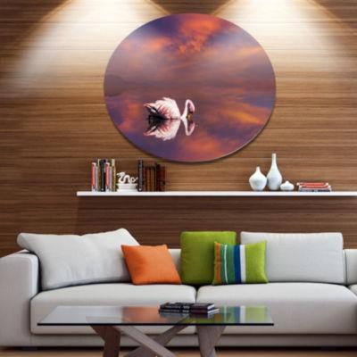 Design Art Huge White Flamingo in Lake Animal Metal Circle Wall Art